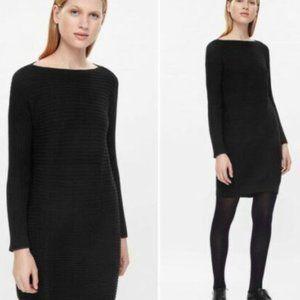 COS dress sweater black wool ribbed sz Medium